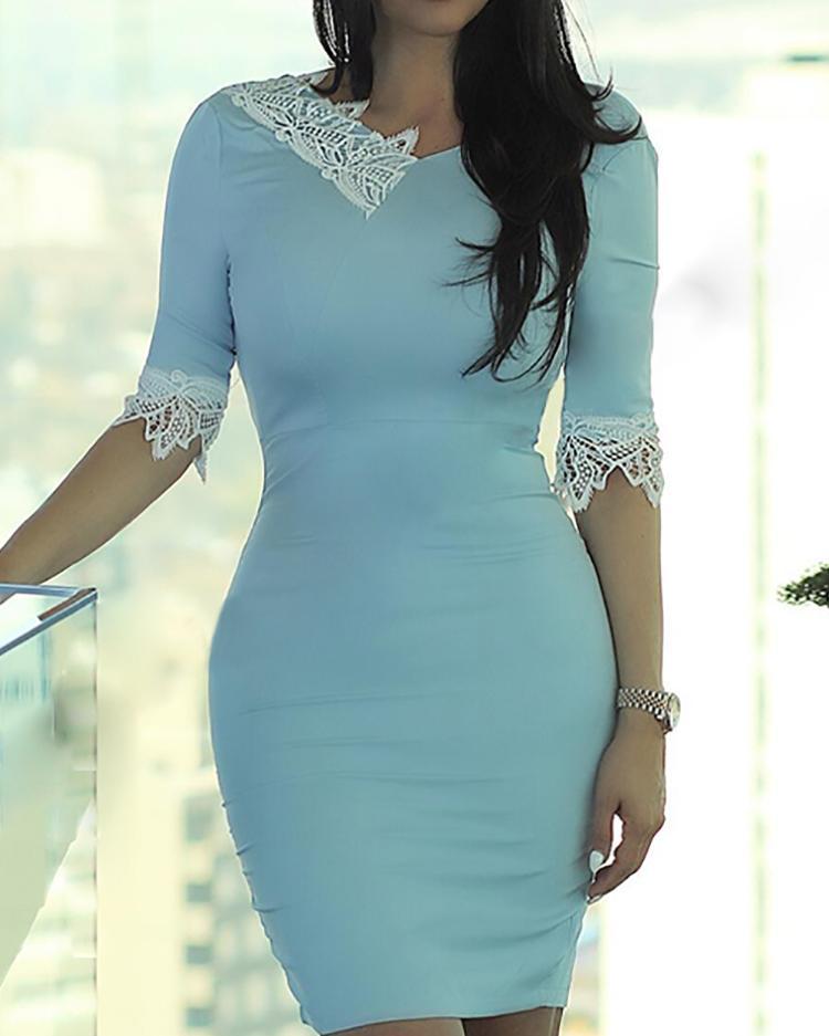 Lace Splicing Wrap Bodycon Dress