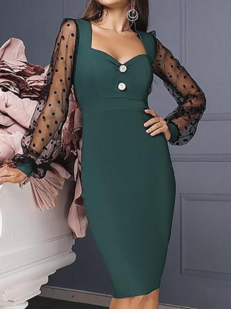 Dot Mesh Sleeve Insert Midi Dress