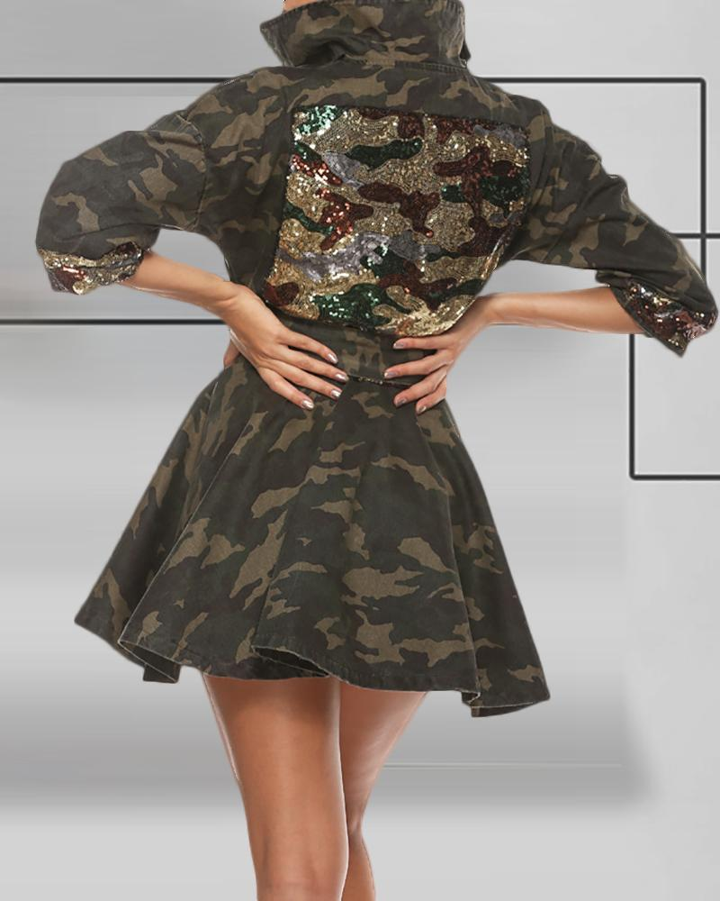 Camouflage Sequins Patch Skater Dress фото