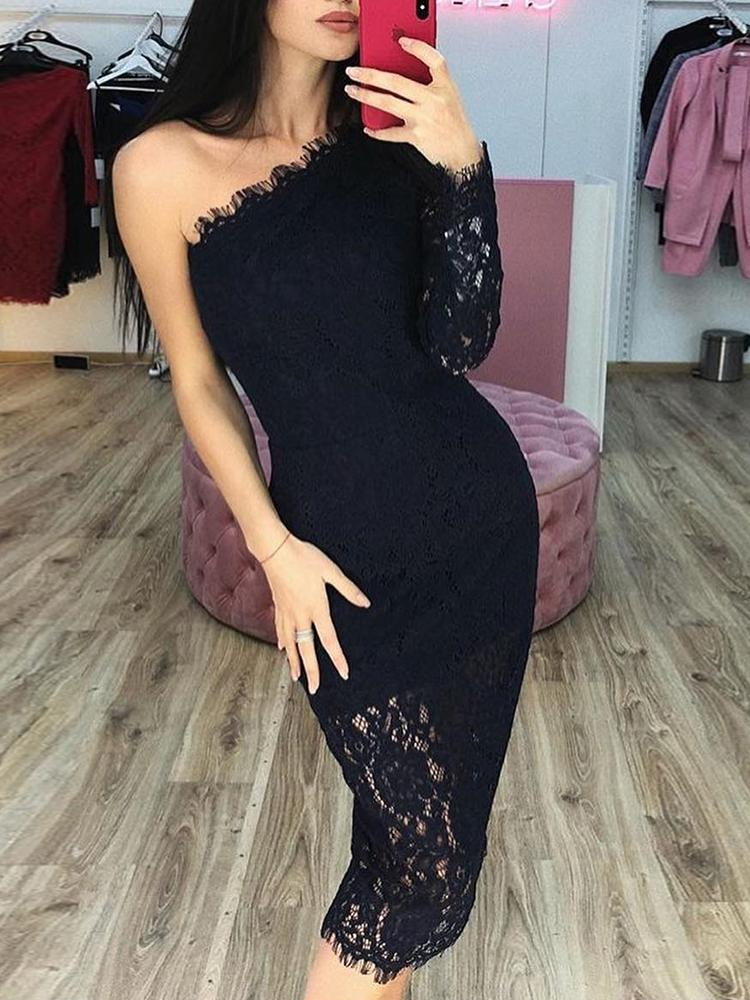 One Shoulder Eyelash Lace Dress