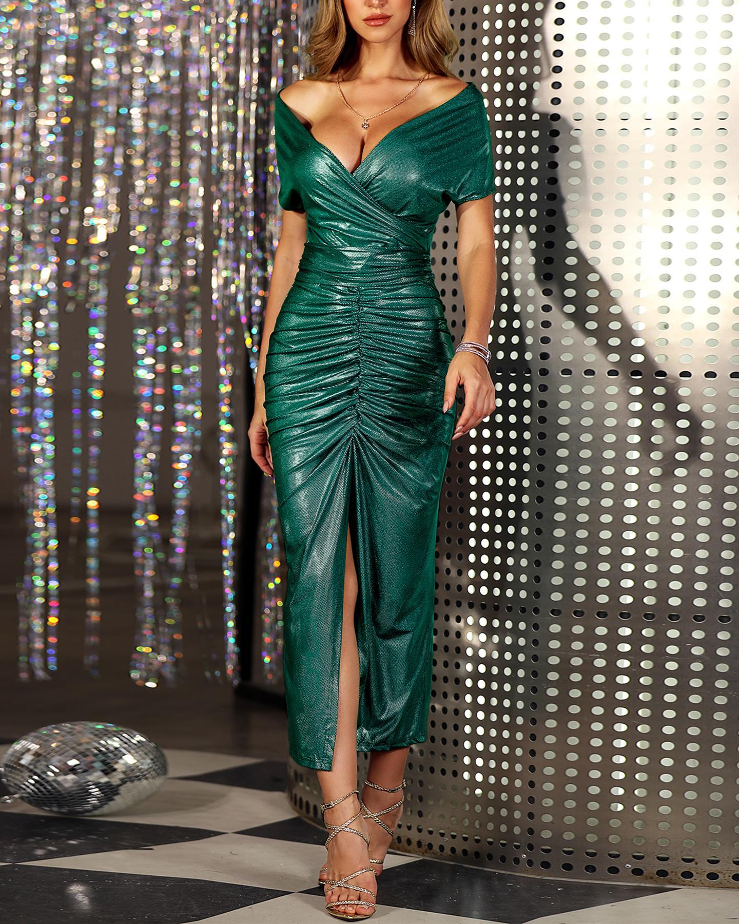 ivrose / Glitter Off Shoulder Ruched Slit Dress