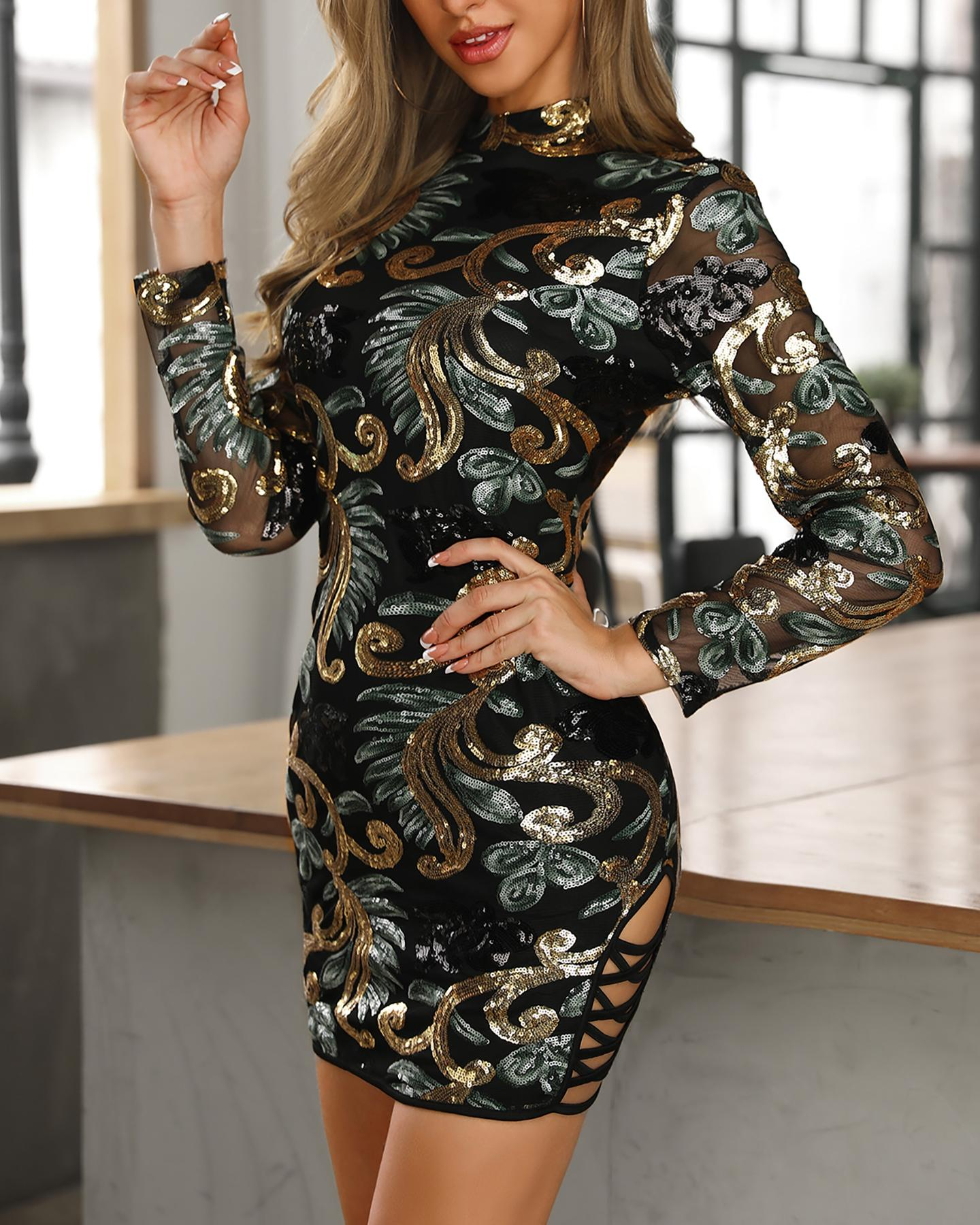 Long Sleeve Lace-up Bodycon Sequin Dress