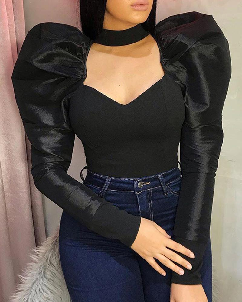 Solid Puffed Sleeve Cut Out Chest Blouse фото