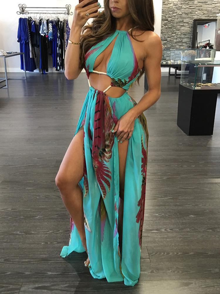 Bohemia Split Bandage Maxi Dress фото
