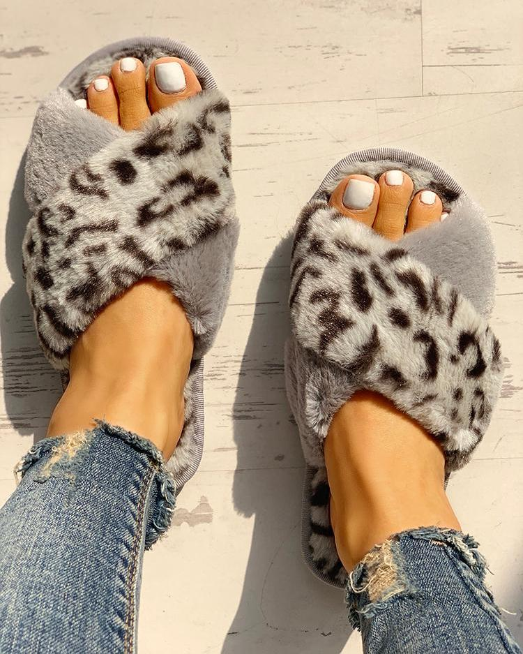Fluffy Leopard Crisscross Peep Toe Slippers фото