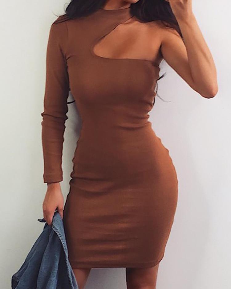 boutiquefeel / Vestido de um ombro sólido Bodycon