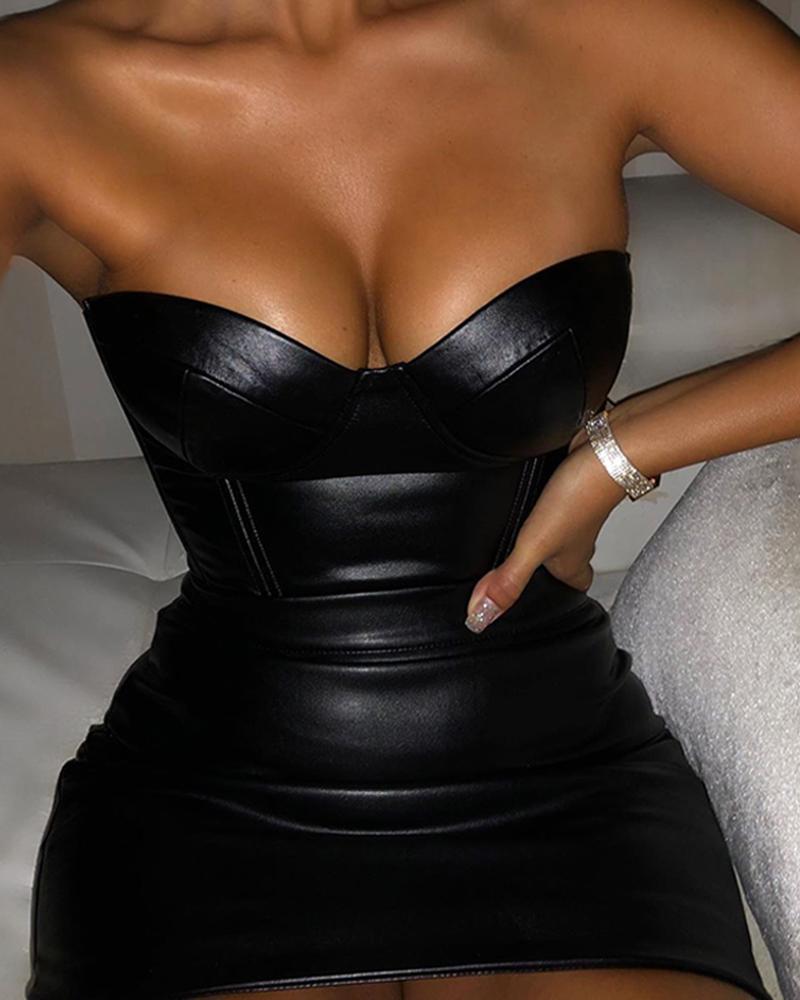 ivrose / Off Shoulder Sweetheart PU Bodycon Mini Dress