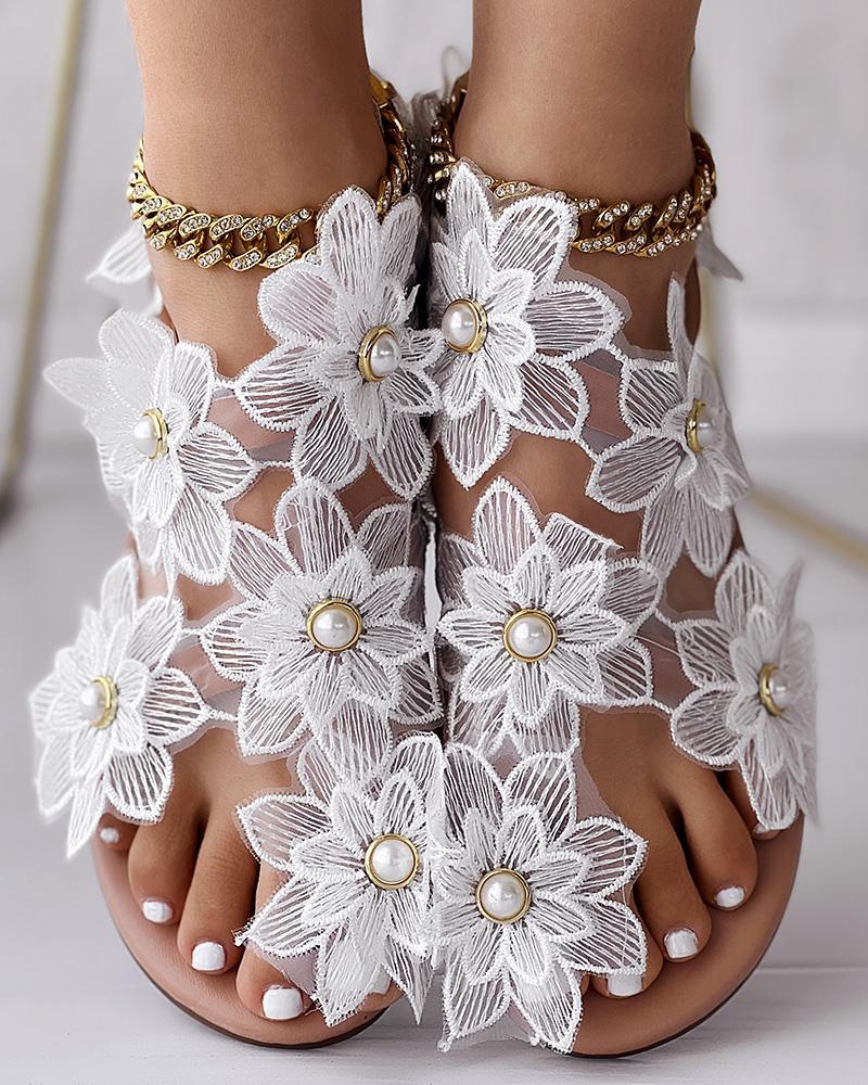 Toe Ring Flower Design Flat Sandals фото