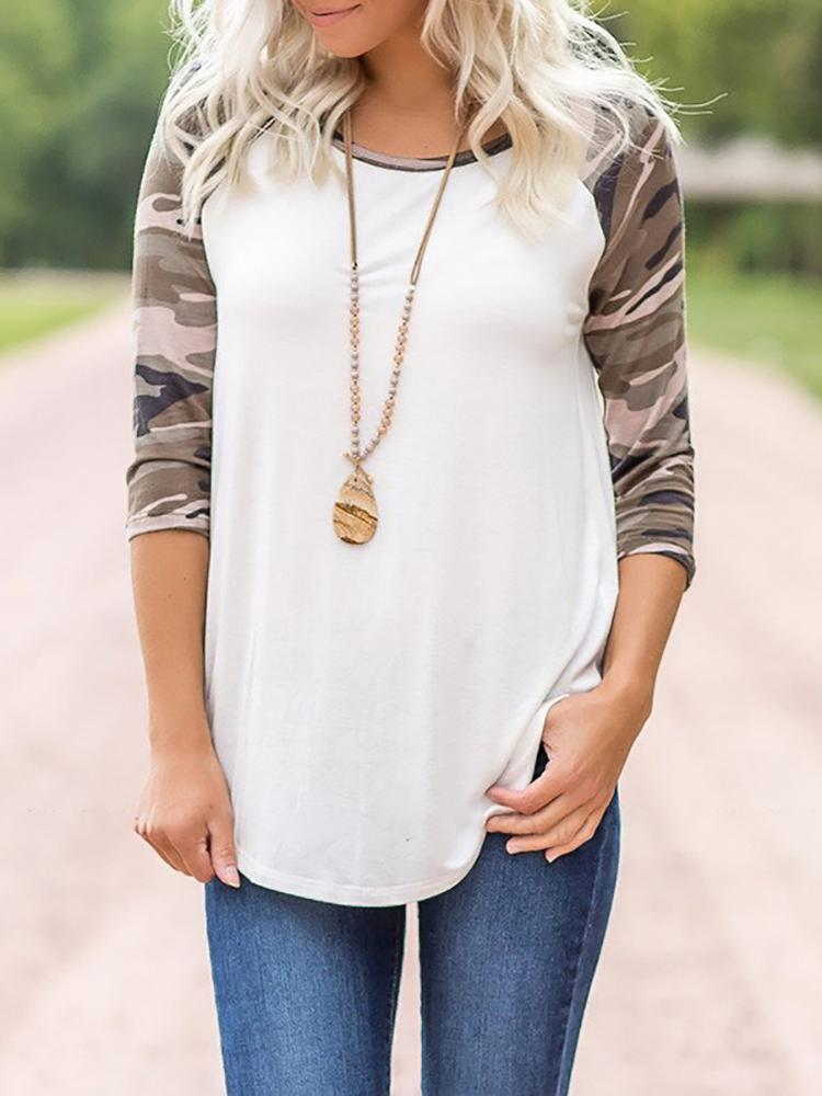 Camouflage Print Splicing Casual T-shirt