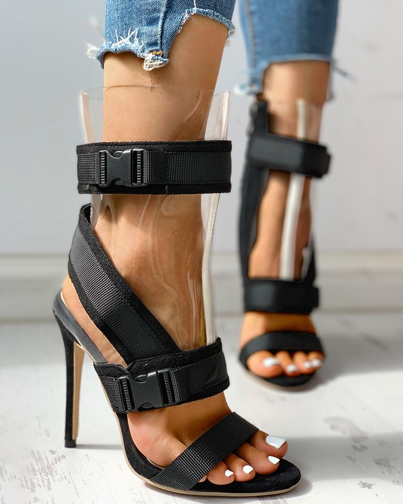 Bandage Design Patchwork PVC Thin Heeled Sandals, Black