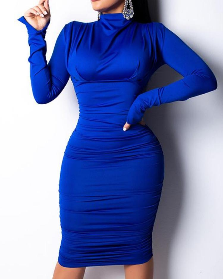 Long Sleeve Ruched Design Mock Neck Dress