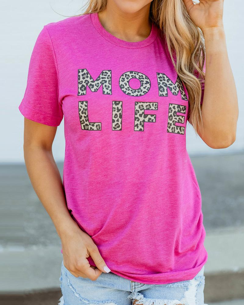 Leopard Letter Print Casual T-shirt фото