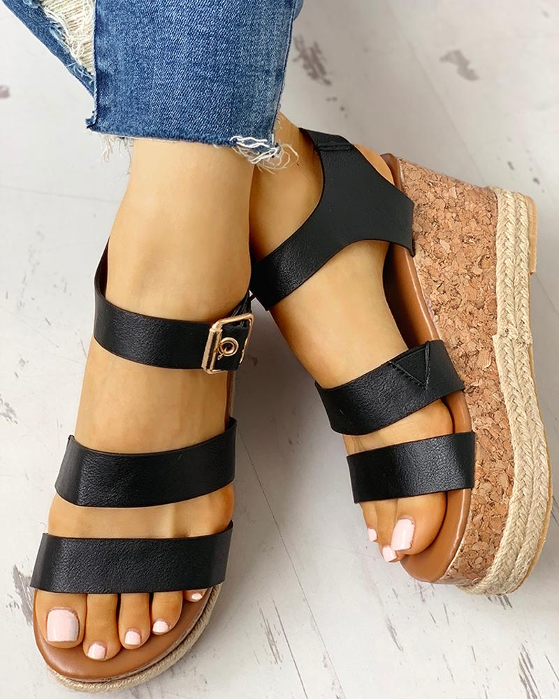 Eyelet Buckled Espadrille Wedge Sandals фото