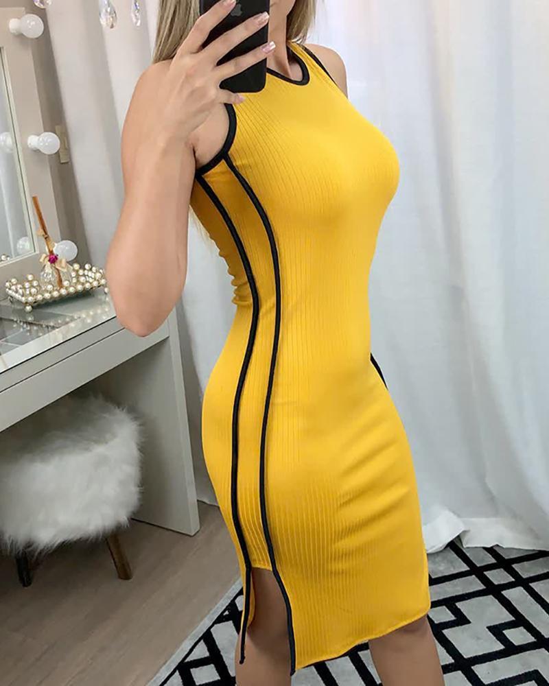 Contrast Binding Side Slit Bodycon Dress фото