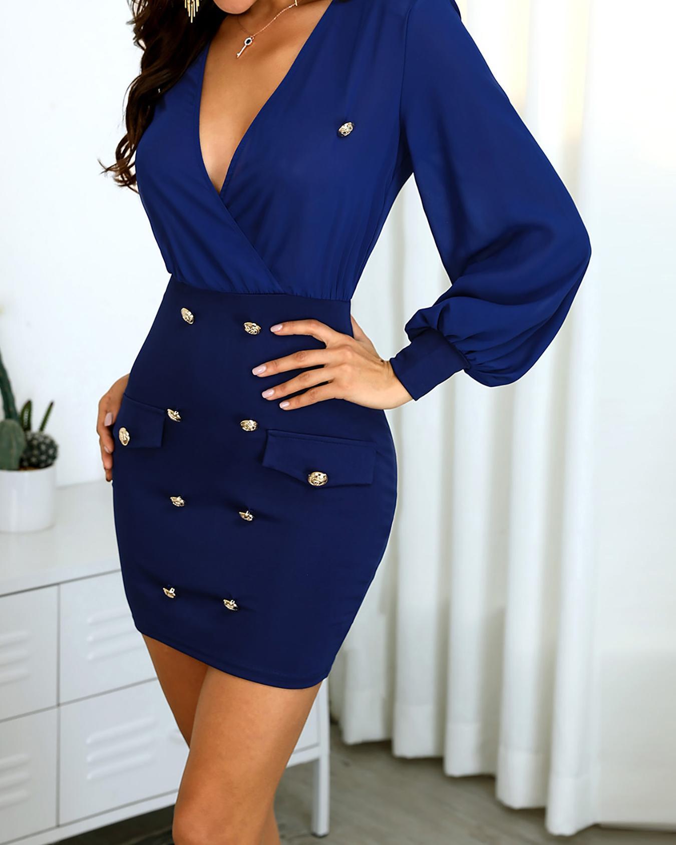 Solid V-Neck Button Design Wrap Dress от ChicMe WW