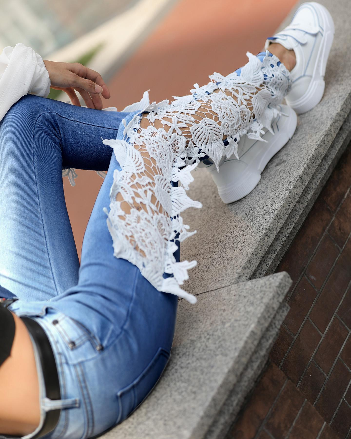 Lace Crochet Hollow-Out Jeans фото