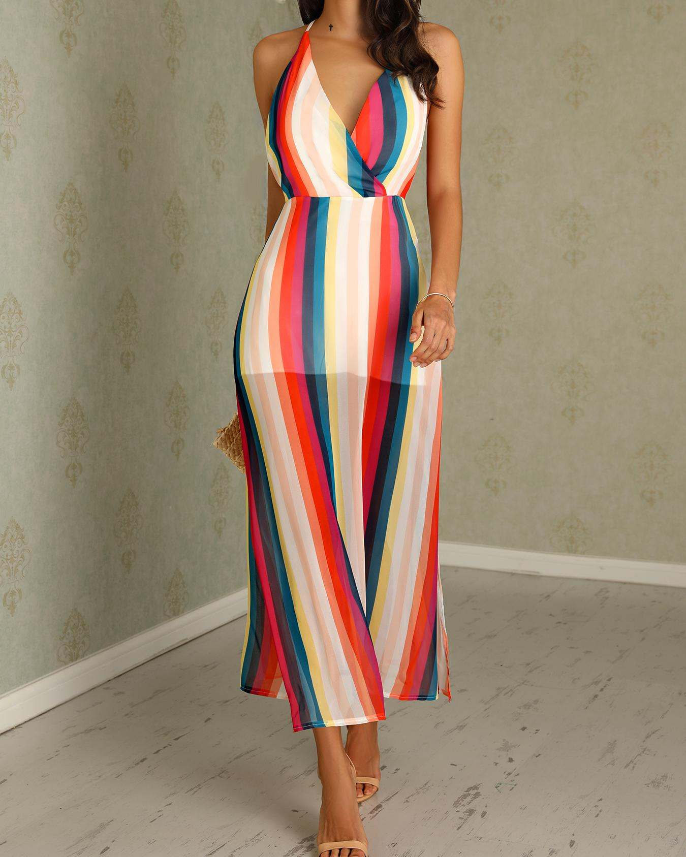 Colorfull Striped Wrapped Side Slit Maxi Dress