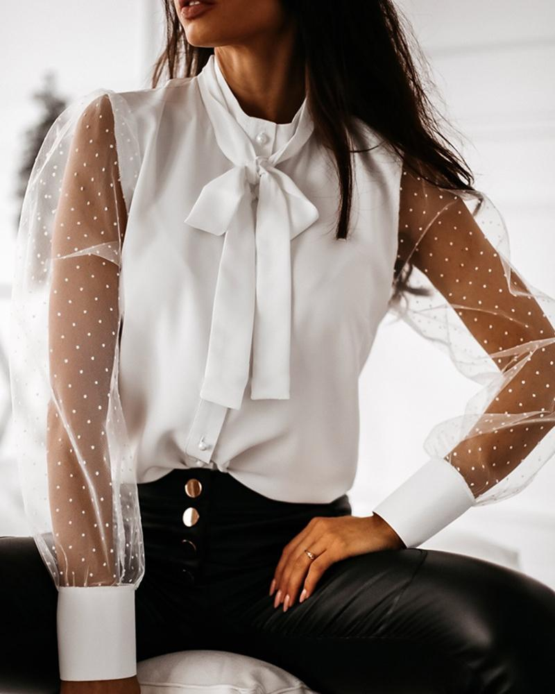 Semi Sheer Mesh Dot Tied Shirt фото