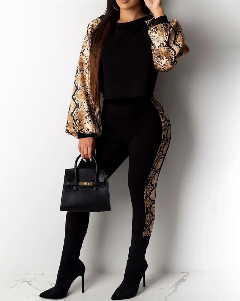 ivrose / Conjuntos de top y pantalones con estampado de piel de serpiente