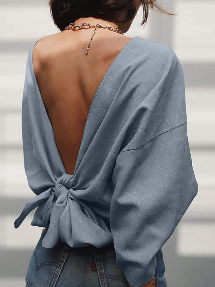 Solid Knot Open Back Bat-Wing Sleeve Sweatshirt