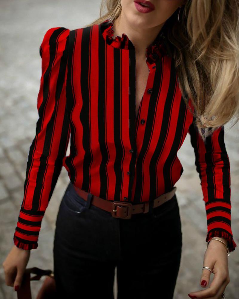 Colorblock Striped Frill Cuff Buttoned Shirt фото