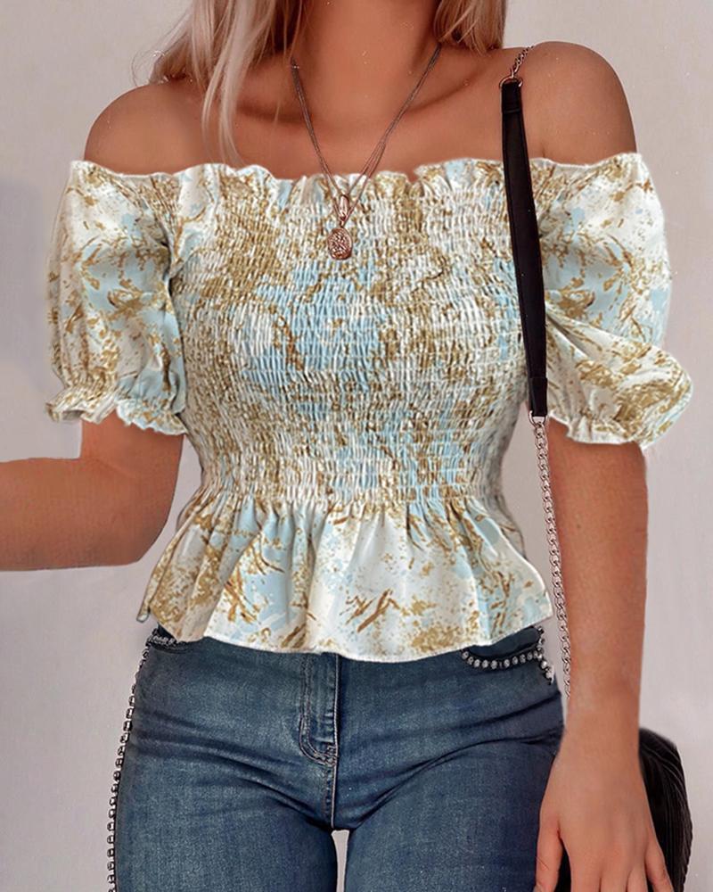 Print Ruffles Off Shoulder Casual T-shirt фото