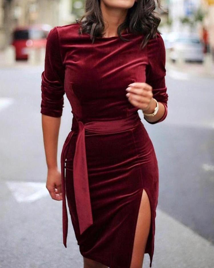 chicme / Velvet Slit Side Belted Long Sleeve Dress