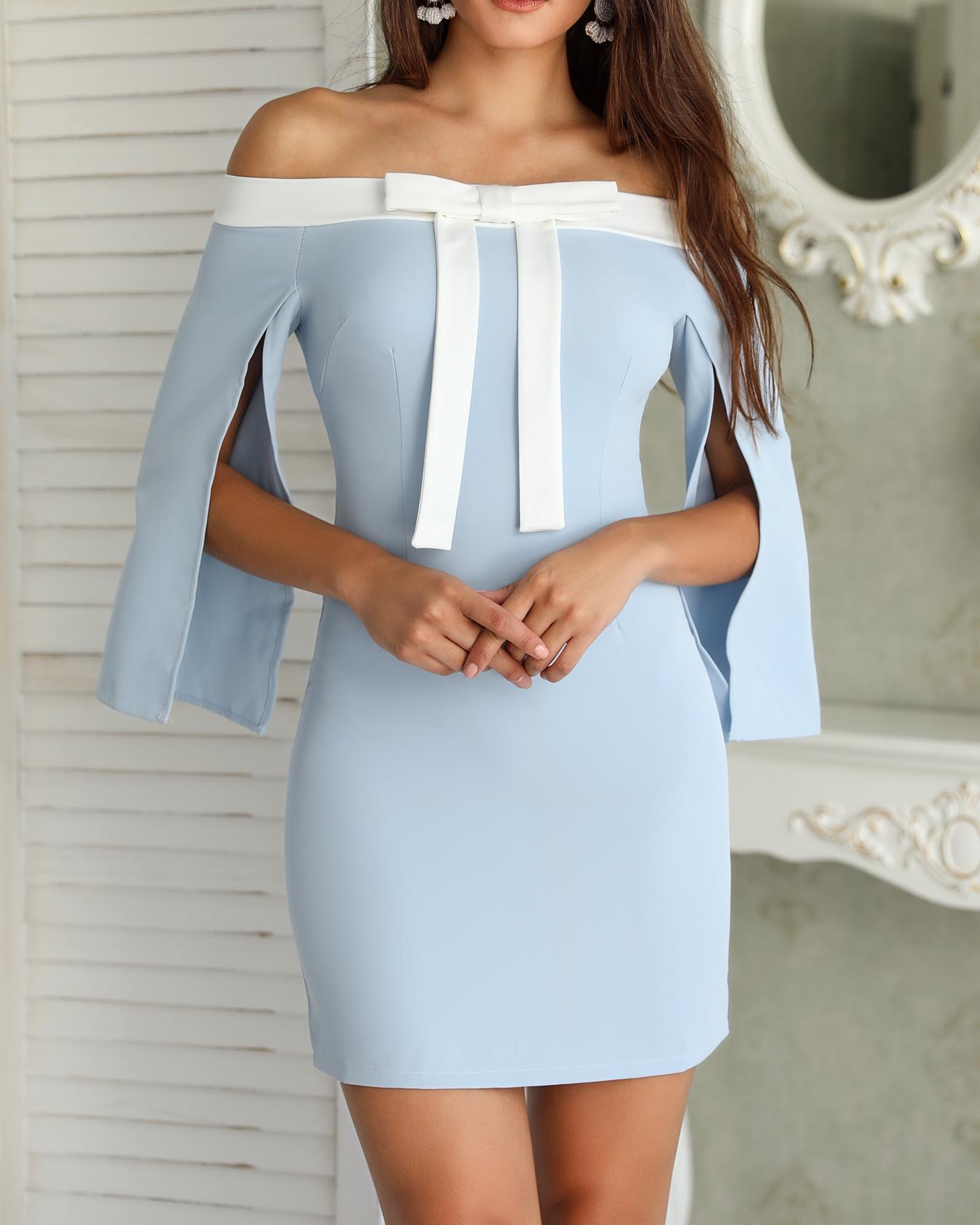 Off Shoulder Slit Sleeve Bow Front Bodycon Dress, Light blue