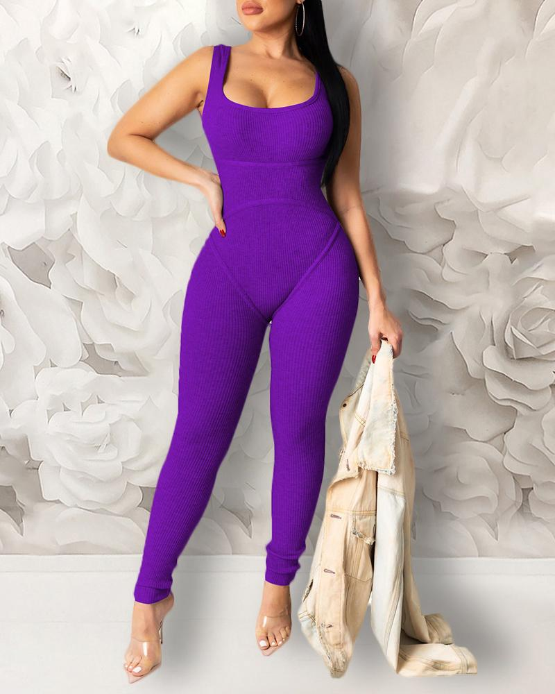 Solid U-neck Thick Strap Jumpsuit фото