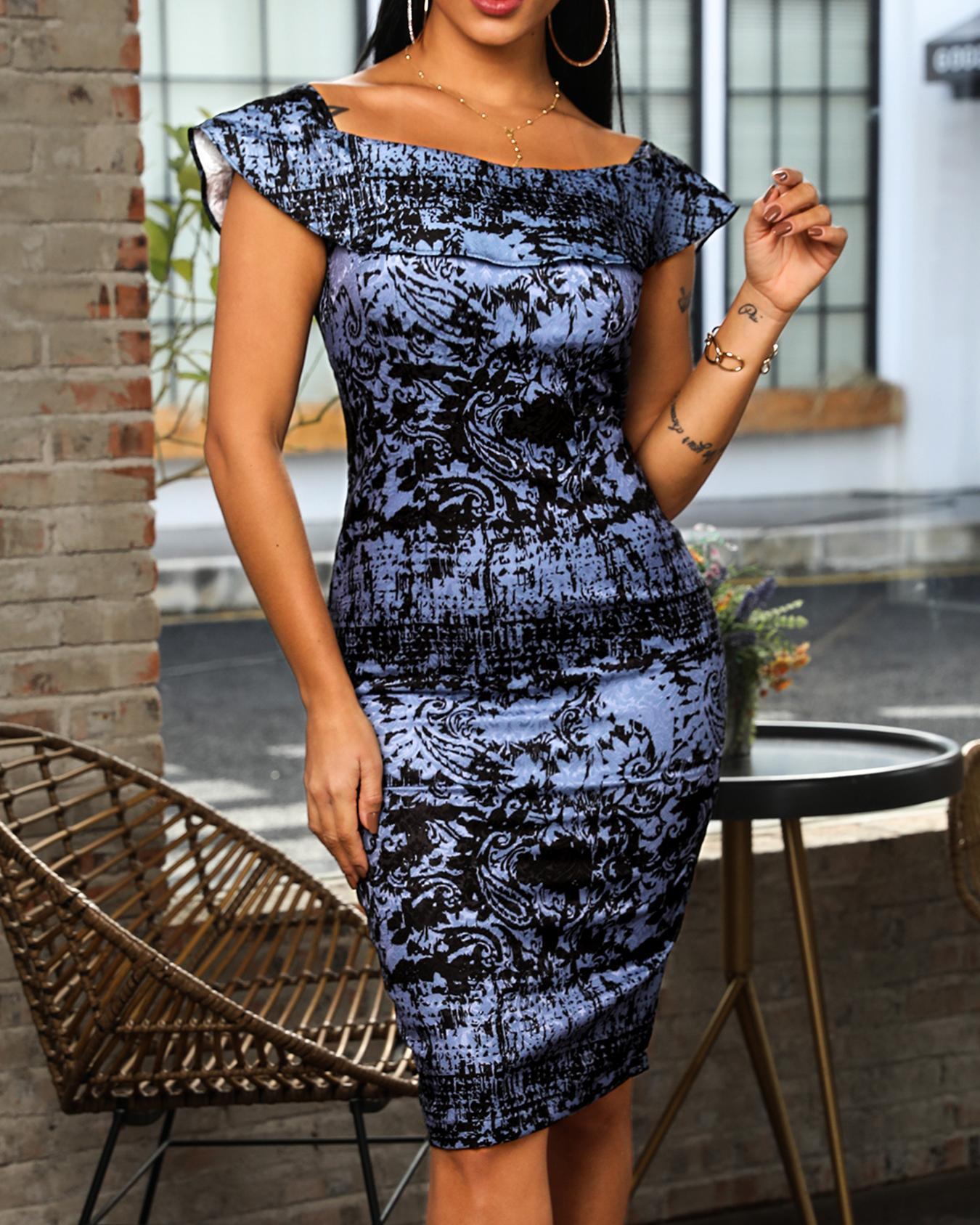 Ruffle Slit Back Print Dress фото