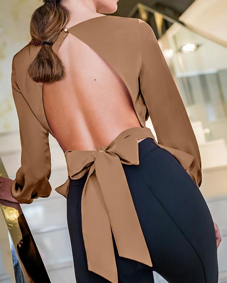 Solid Bowknot Design Open Back Blouse фото