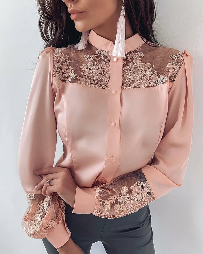 Mesh Embroidery Insert Button Up Blouse, Pink