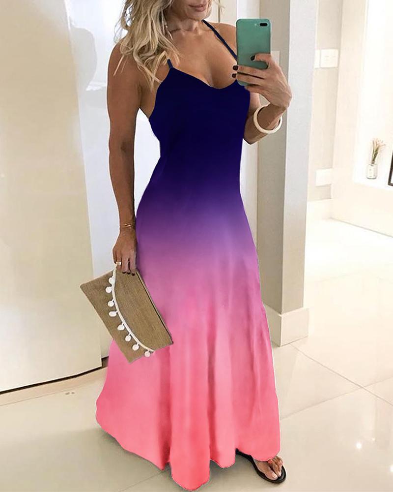 chicme / Vestido largo con estampado teñido anudado en color degradado