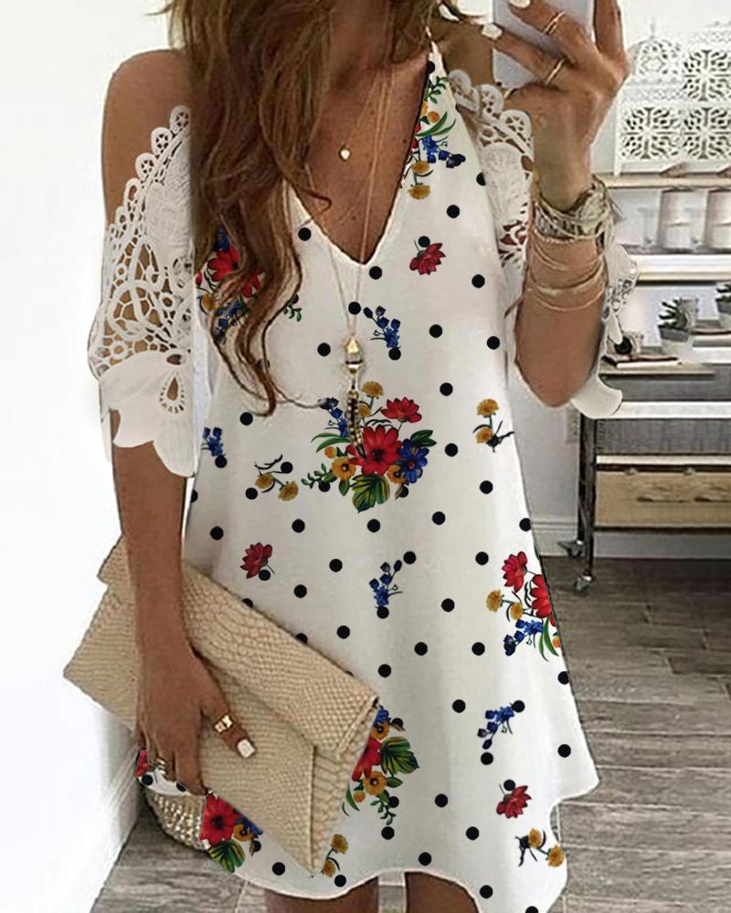 ivrose / Vestido estampado floral de encaje de ganchillo con hombros fríos