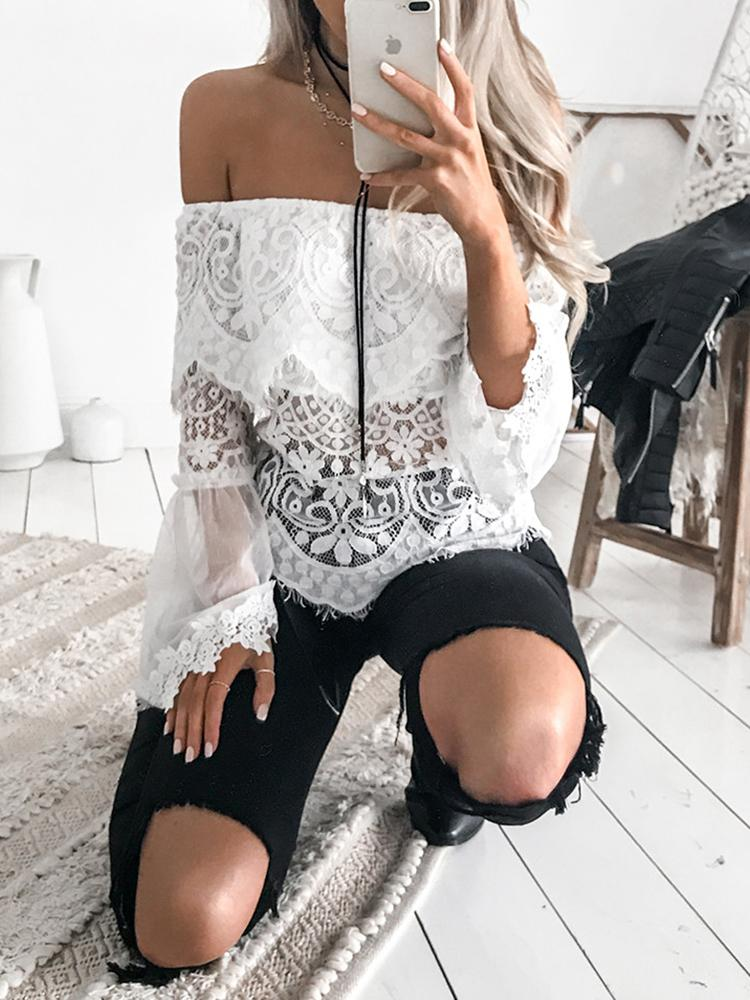 Купить со скидкой Off Shoulder Crochet Lace Flare Sleeve Blouse