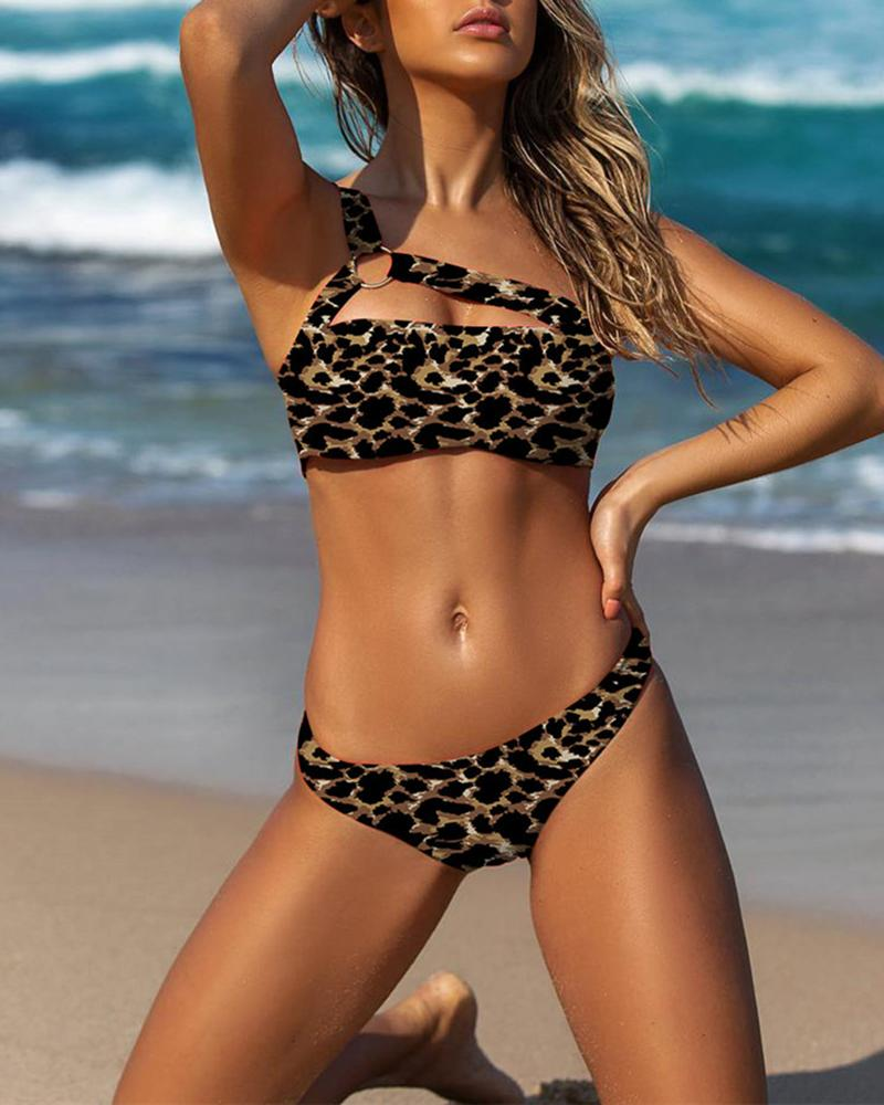 One Shoulder Leopard Print Bikini Set фото