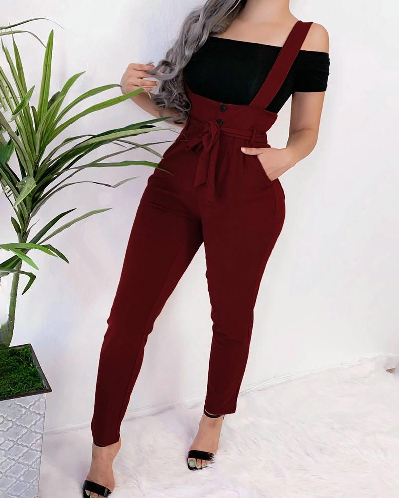 Solid Button Design Pockets Casual Suspender Pants фото