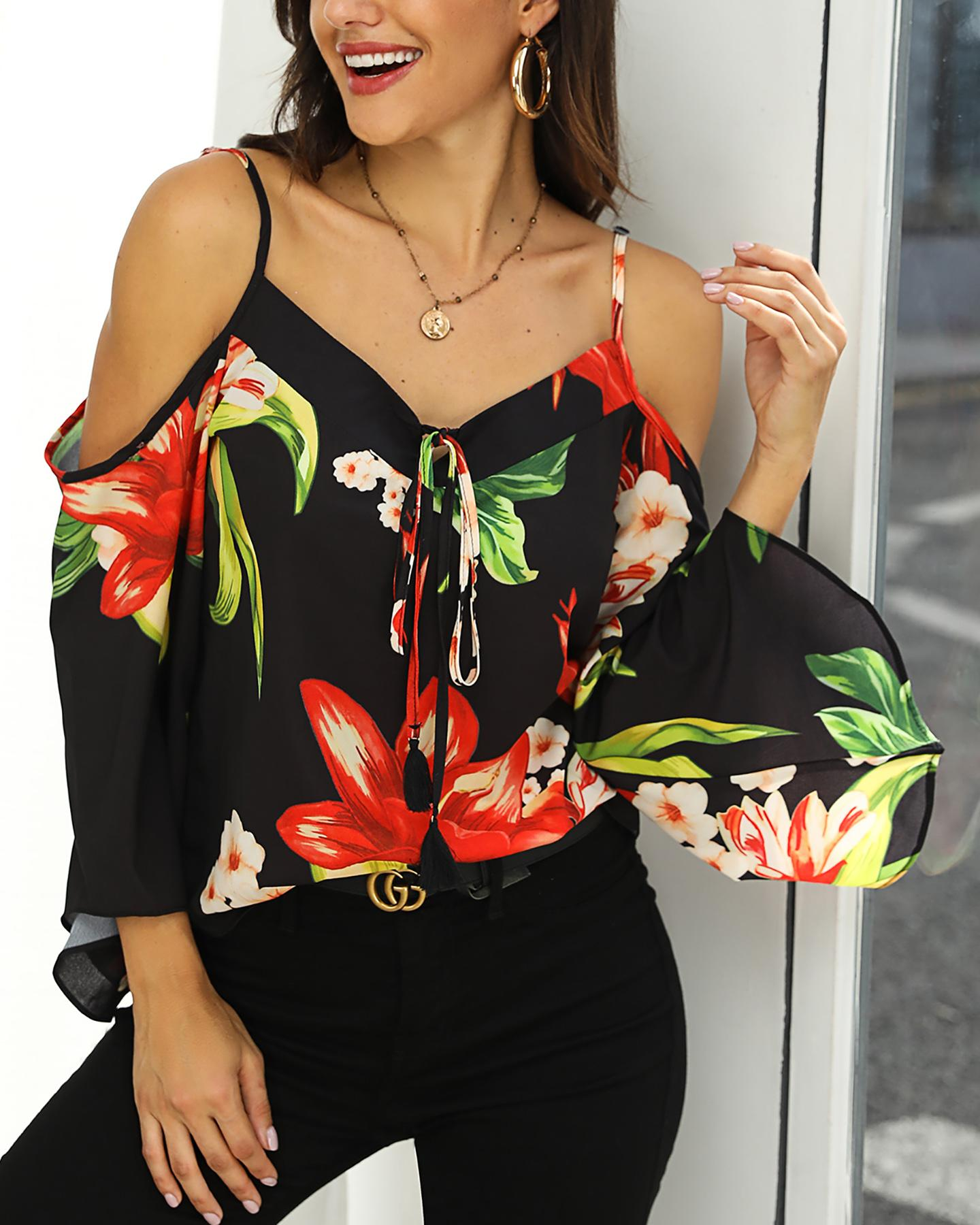 Cold Shoulder Floral Print Blouse