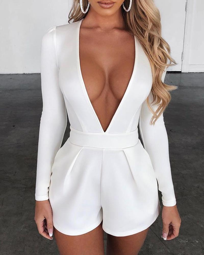 Plunge Long Sleeve Solid Romper фото