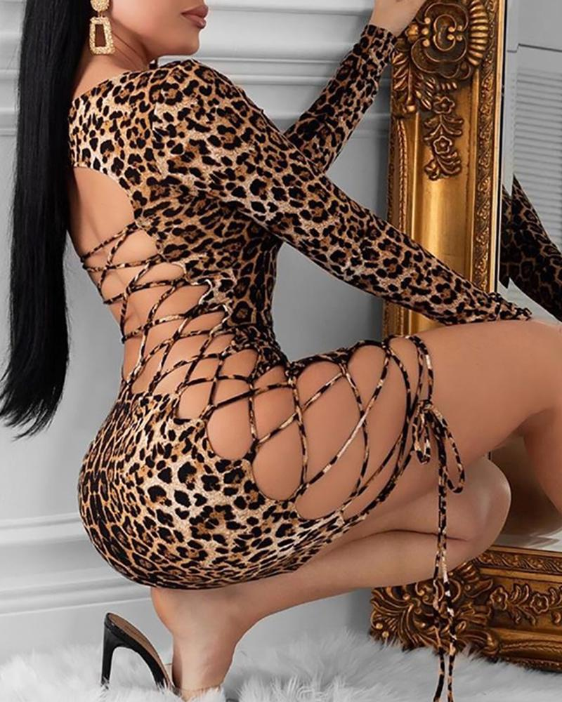 Leopard Print Backless Lace-Up Bodycon Dress фото