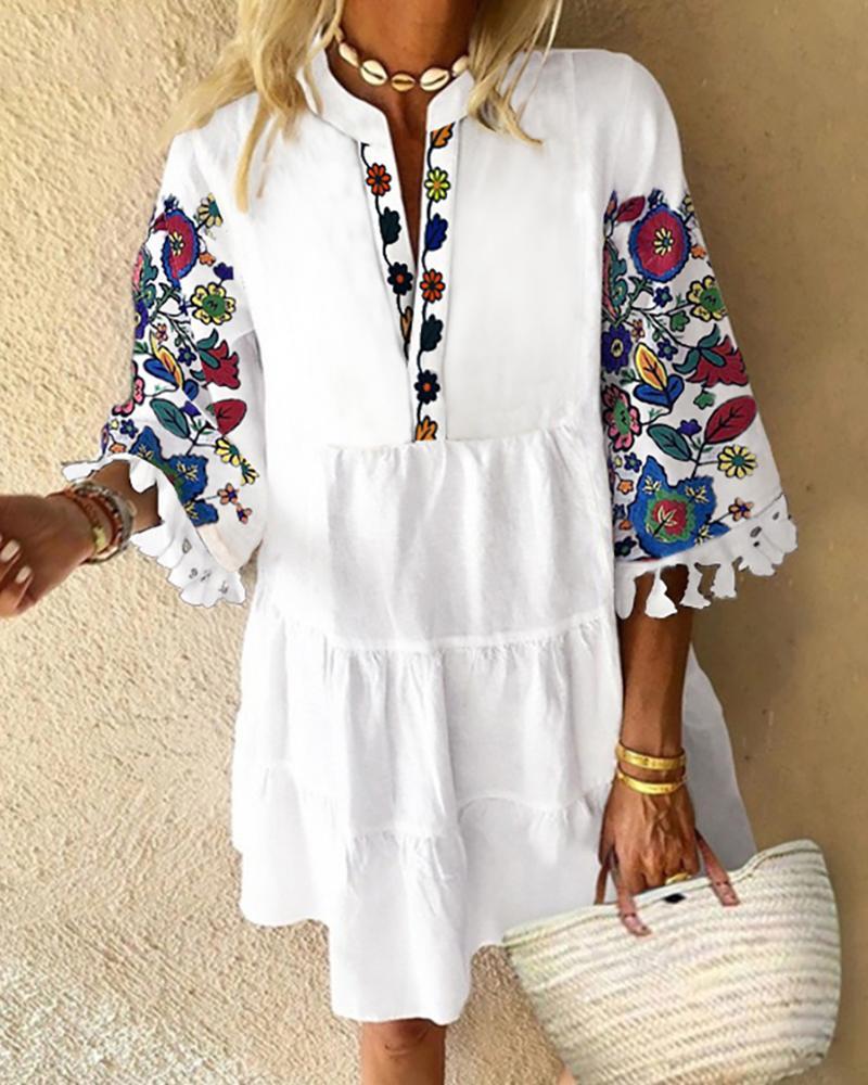 boutiquefeel / Vestido informal con diseño de borla con estampado floral