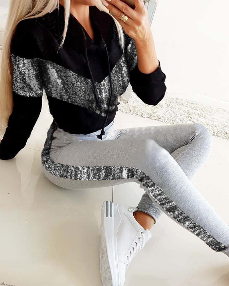 Sequins Colorblock Hooded Top & Pants Set фото