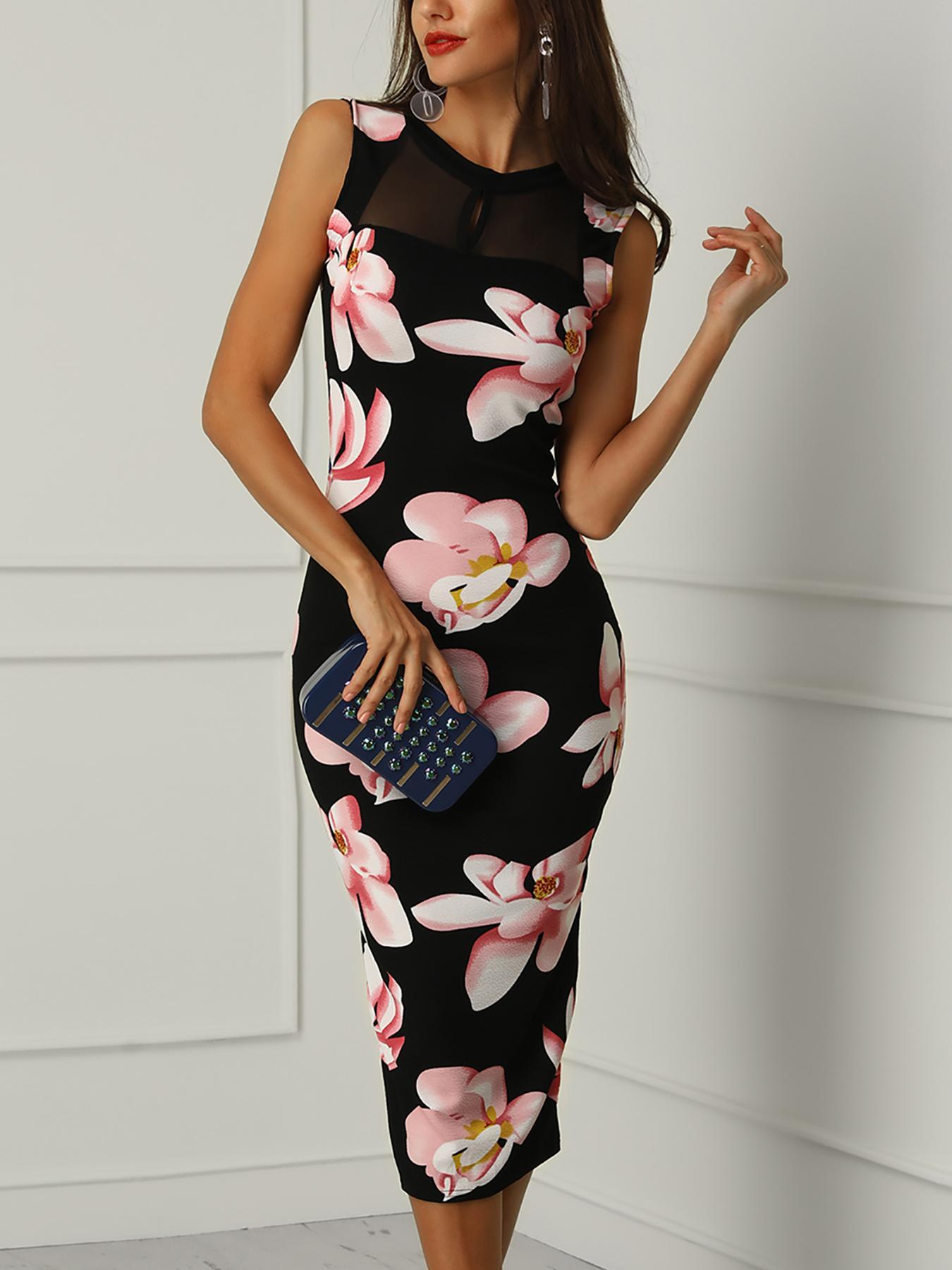 Floral Print Mesh Splicing Slit Dress