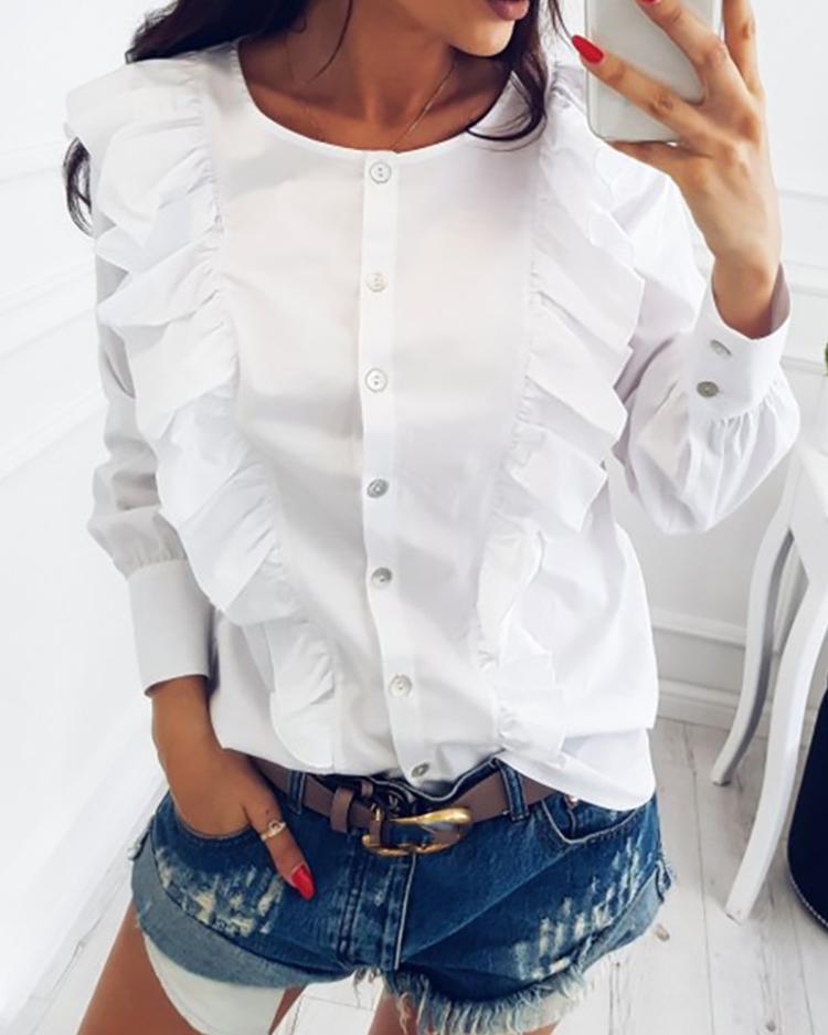 chicme / Blusa de patchwork elegante botón con volantes