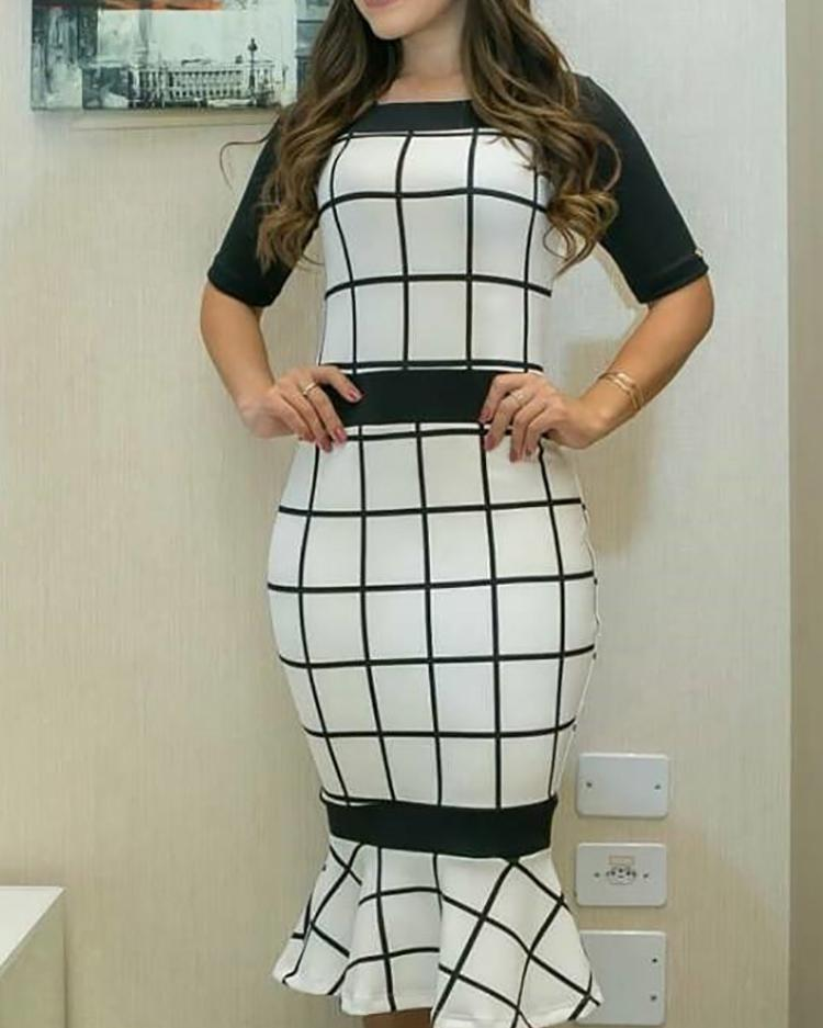 chicme / Contrast Color Grid Print Pep Hem Bodycon Dress