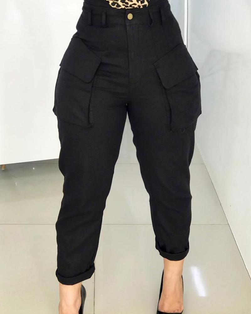 ivrose / Cintura alta bolsillo diseño cargo pantalones casuales