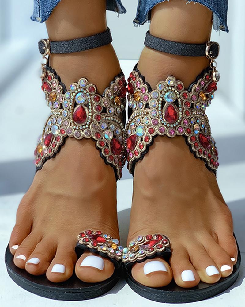 Toe Ring Studded Flower Pattern Flat Sandals фото
