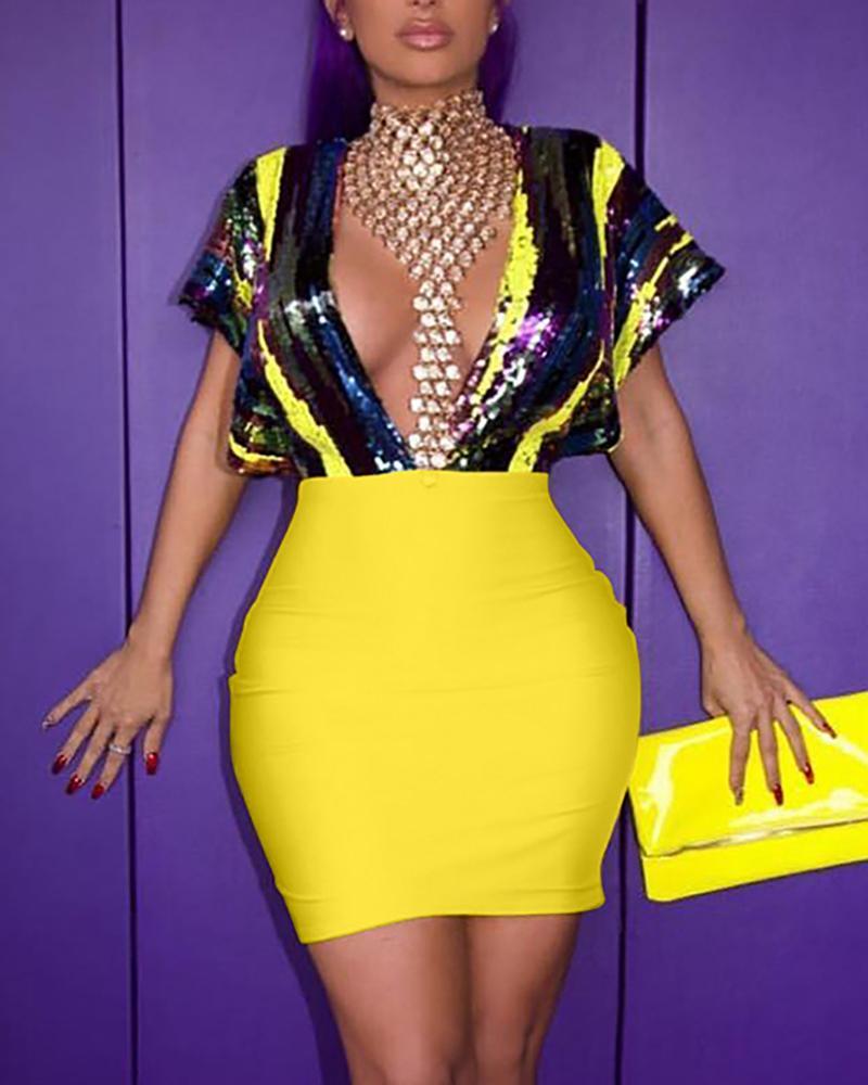 chicme / Deep V Neck Sequin Bodycon Dress