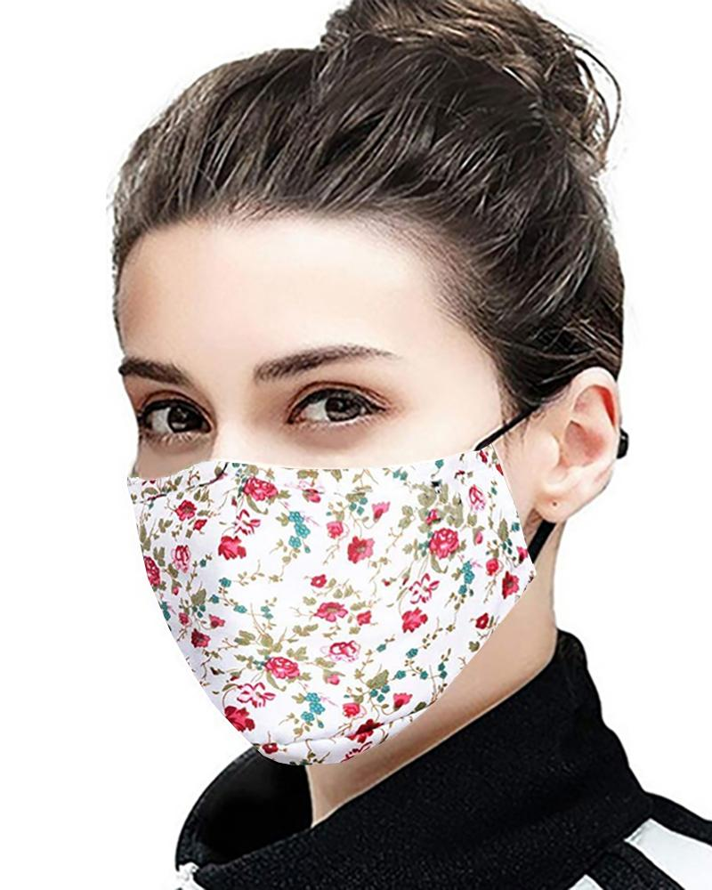 Daisy / Floral / Retro Print Ear Loop Breathable Mouth Mask With 4 Filters фото