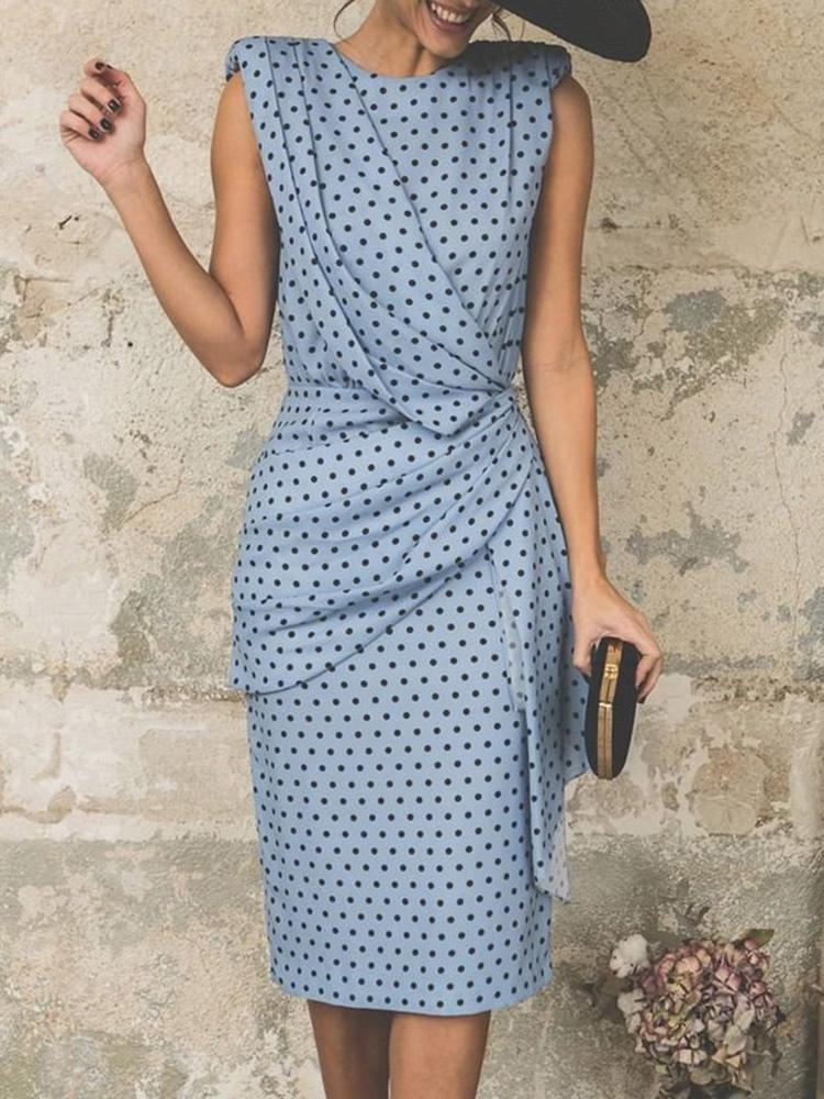 chicme / Polka Dots Print Cutout Back Scrunch Bodycon Dress